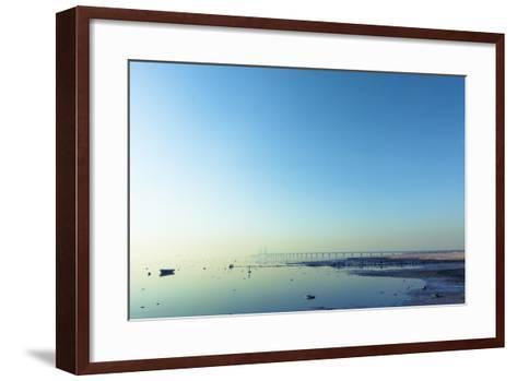 The Bridge between Denmark and Sweden, Oresundsbron, in Early Morning Light in April.- kimson-Framed Art Print