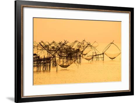 Thai Style Fishing Trap in Pak Pra Village, Net Fishing Thailand, Thailand Shrimp Fishing, Phatthal-Take Photo-Framed Art Print