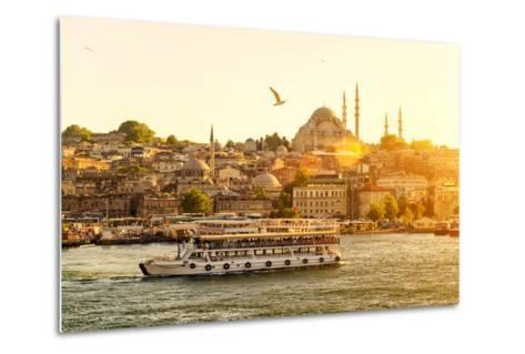 Tourist Boat Floats on the Golden Horn in Istanbul at Sunset, Turkey-Viacheslav Lopatin-Metal Print