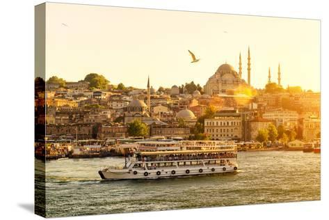 Tourist Boat Floats on the Golden Horn in Istanbul at Sunset, Turkey-Viacheslav Lopatin-Stretched Canvas Print
