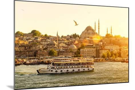 Tourist Boat Floats on the Golden Horn in Istanbul at Sunset, Turkey-Viacheslav Lopatin-Mounted Photographic Print
