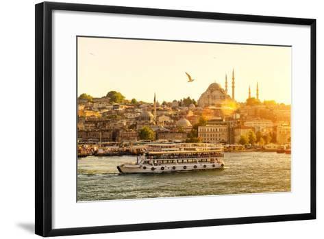 Tourist Boat Floats on the Golden Horn in Istanbul at Sunset, Turkey-Viacheslav Lopatin-Framed Art Print
