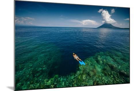 Young Lady Snorkeling over the Reef Wall in the Area of the Island of Bunaken, Sulawesi, Indonesia-Dudarev Mikhail-Mounted Photographic Print