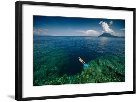 Young Lady Snorkeling over the Reef Wall in the Area of the Island of Bunaken, Sulawesi, Indonesia-Dudarev Mikhail-Framed Art Print