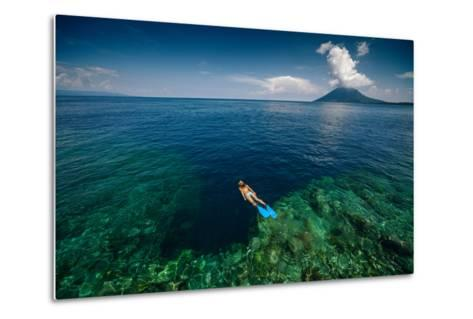 Young Lady Snorkeling over the Reef Wall in the Area of the Island of Bunaken, Sulawesi, Indonesia-Dudarev Mikhail-Metal Print