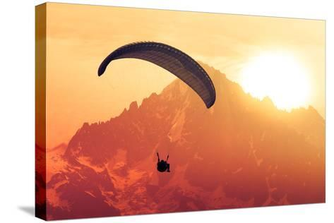 Sepia Paraglide Silhouette over Alps Peaks-Pavel Burchenko-Stretched Canvas Print