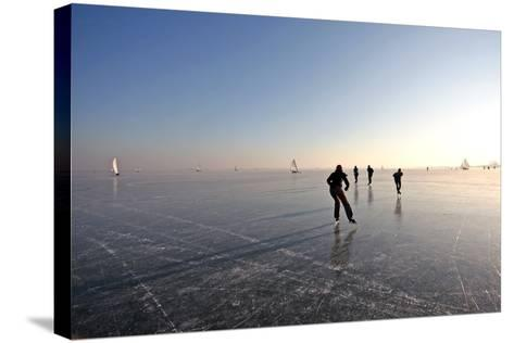 Ice Skating on the Gouwzee in the Netherlands-Steve Photography-Stretched Canvas Print