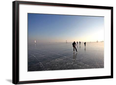Ice Skating on the Gouwzee in the Netherlands-Steve Photography-Framed Art Print