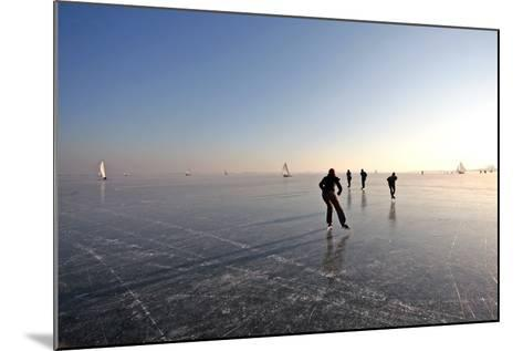 Ice Skating on the Gouwzee in the Netherlands-Steve Photography-Mounted Photographic Print