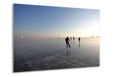 Ice Skating on the Gouwzee in the Netherlands-Steve Photography-Metal Print