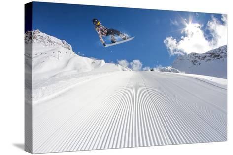 Flying Snowboarder on Mountains, Extreme Sport-Merkushev Vasiliy-Stretched Canvas Print