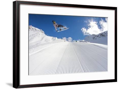 Flying Snowboarder on Mountains, Extreme Sport-Merkushev Vasiliy-Framed Art Print