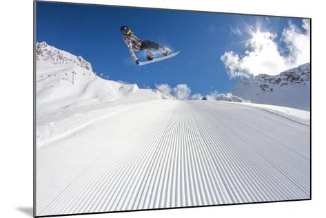 Flying Snowboarder on Mountains, Extreme Sport-Merkushev Vasiliy-Mounted Photographic Print