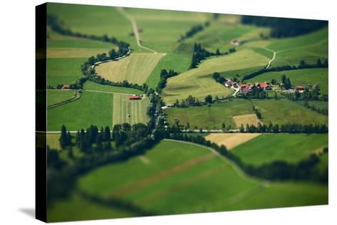 Small Bavarian Village in a Fields, Germany. Pseudo Tilt Shift Effect-Dudarev Mikhail-Stretched Canvas Print