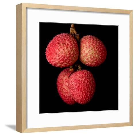 A Bunch of Lychees against a Black Background- hein-Framed Art Print