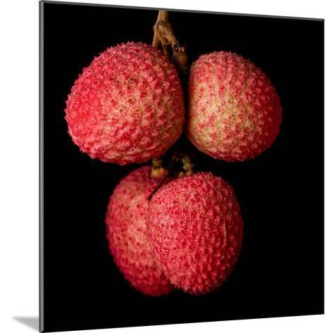 A Bunch of Lychees against a Black Background- hein-Mounted Photographic Print