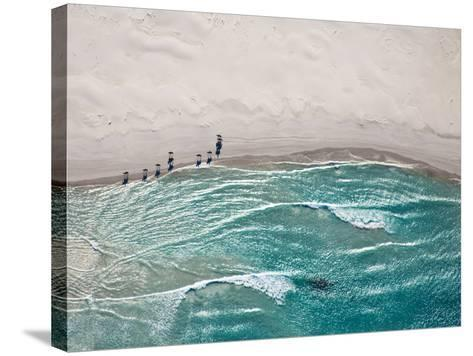 Aerial View of Horses Trotting on Noordhoek Beach in Early Morning. Riders are Often Spotted Exerci-Andrea Willmore-Stretched Canvas Print
