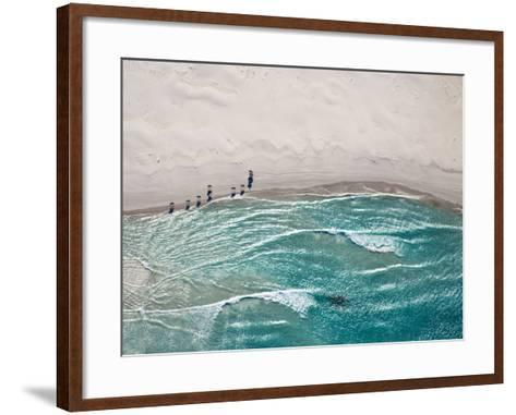 Aerial View of Horses Trotting on Noordhoek Beach in Early Morning. Riders are Often Spotted Exerci-Andrea Willmore-Framed Art Print