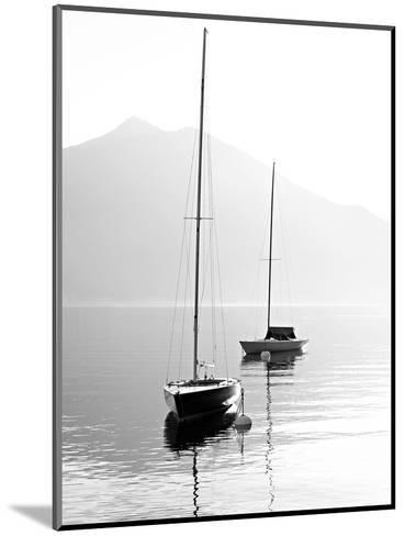 Two Sail Boats in Early Morning on the Mountain Lake. Black and White Photography. Salzkammergut, A-Kletr-Mounted Photographic Print