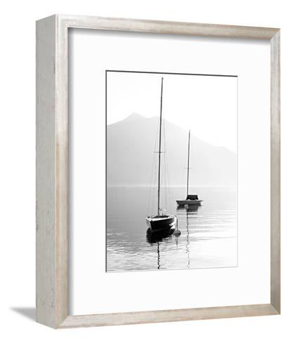 Two Sail Boats in Early Morning on the Mountain Lake. Black and White Photography. Salzkammergut, A-Kletr-Framed Art Print