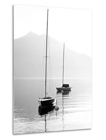 Two Sail Boats in Early Morning on the Mountain Lake. Black and White Photography. Salzkammergut, A-Kletr-Metal Print