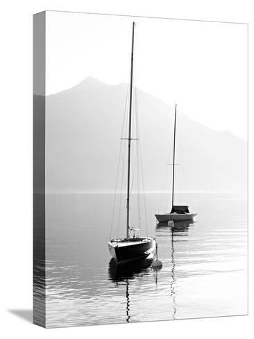 Two Sail Boats in Early Morning on the Mountain Lake. Black and White Photography. Salzkammergut, A-Kletr-Stretched Canvas Print