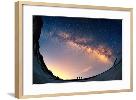 Silhouettes of the People Standing Together Holding Hands against the Milky Way in the Mountains.-Anton Jankovoy-Framed Art Print
