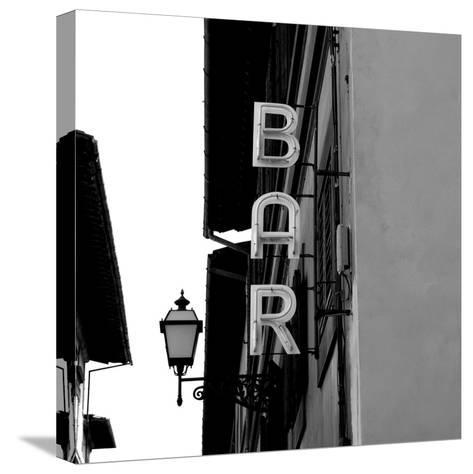 Black and White Neon Lights Spelling BAR in the Street-Robin Nieuwenkamp-Stretched Canvas Print