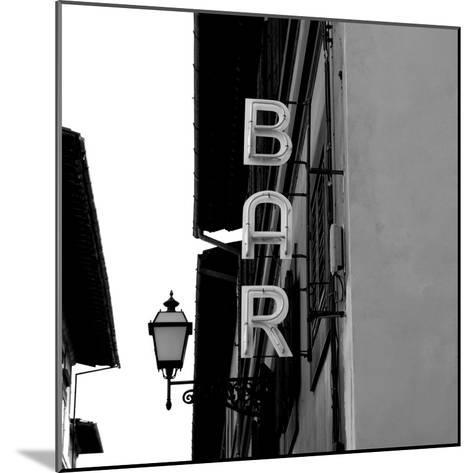 Black and White Neon Lights Spelling BAR in the Street-Robin Nieuwenkamp-Mounted Photographic Print