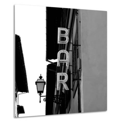 Black and White Neon Lights Spelling BAR in the Street-Robin Nieuwenkamp-Metal Print