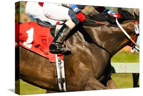 Two Horses and Jockeys Come Aross Finish Line Neck and Neck Number One-Christopher Boswell-Stretched Canvas Print