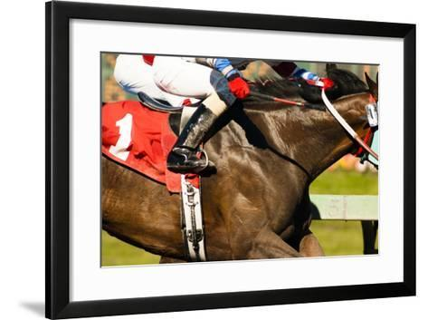 Two Horses and Jockeys Come Aross Finish Line Neck and Neck Number One-Christopher Boswell-Framed Art Print