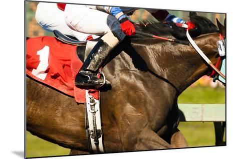 Two Horses and Jockeys Come Aross Finish Line Neck and Neck Number One-Christopher Boswell-Mounted Photographic Print