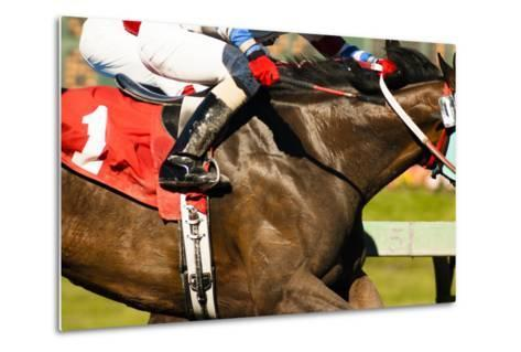 Two Horses and Jockeys Come Aross Finish Line Neck and Neck Number One-Christopher Boswell-Metal Print