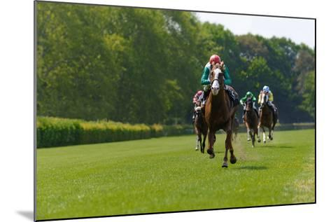 Several Racehorses with Jockeys during a Horse Race- gibleho-Mounted Photographic Print