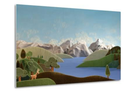 Mountains Panorama with Deer - Alpine Landscape Made of Wool- KREUS-Metal Print