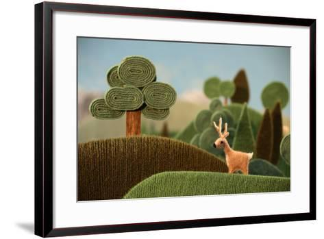 Deer in the Forest (Also Available as Footage)- KREUS-Framed Art Print