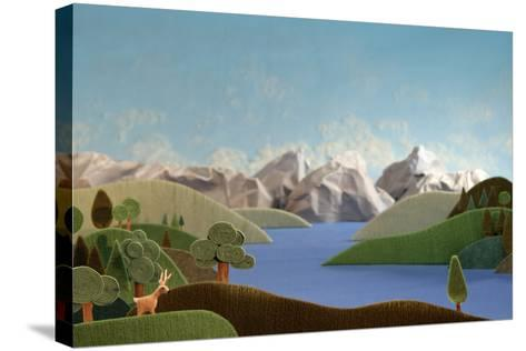 Mountains Panorama with Deer - Alpine Landscape Made of Wool- KREUS-Stretched Canvas Print