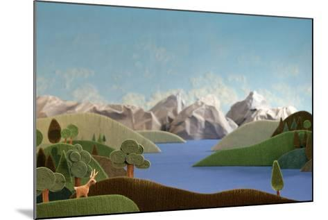 Mountains Panorama with Deer - Alpine Landscape Made of Wool- KREUS-Mounted Photographic Print