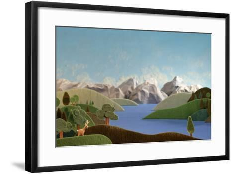 Mountains Panorama with Deer - Alpine Landscape Made of Wool- KREUS-Framed Art Print