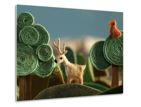 Woods Closeup with Deer and Bird on the Tree - Stylized Alpine Landscape Made of Wool- KREUS-Metal Print