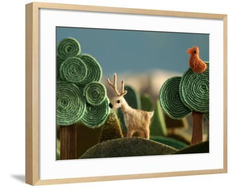 Woods Closeup with Deer and Bird on the Tree - Stylized Alpine Landscape Made of Wool- KREUS-Framed Art Print
