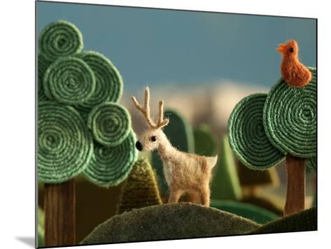Woods Closeup with Deer and Bird on the Tree - Stylized Alpine Landscape Made of Wool- KREUS-Mounted Photographic Print