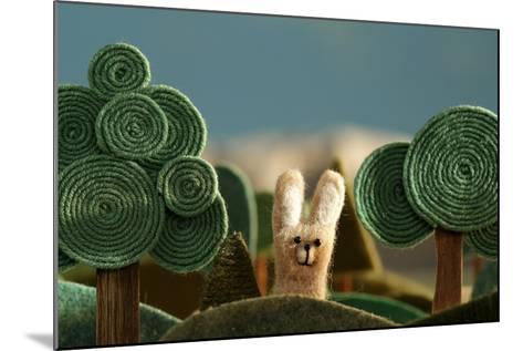 Countryside with Hare - Stylized Nature Background Made of Wool.- KREUS-Mounted Photographic Print
