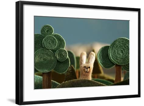 Countryside with Hare - Stylized Nature Background Made of Wool.- KREUS-Framed Art Print