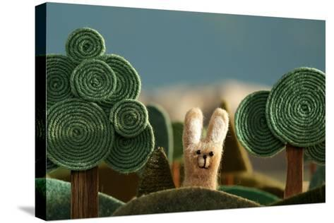 Countryside with Hare - Stylized Nature Background Made of Wool.- KREUS-Stretched Canvas Print