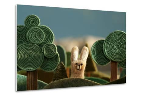 Countryside with Hare - Stylized Nature Background Made of Wool.- KREUS-Metal Print