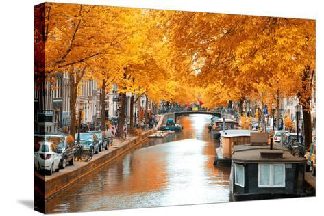 Amsterdam Autumn. Beautiful Places in Europe- Skreidzeleu-Stretched Canvas Print