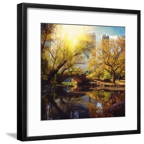 Central Park Pond and Bridge. New York, Usa.-Maglara-Framed Art Print