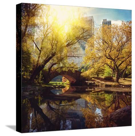 Central Park Pond and Bridge. New York, Usa.-Maglara-Stretched Canvas Print